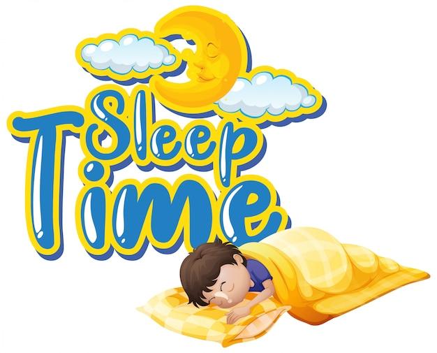 Diseño de fuente para el tiempo de sueño de la palabra con un niño durmiendo en la noche