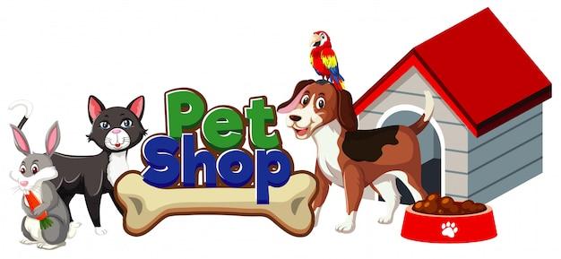 Diseño de fuente para tienda de mascotas con muchos animales lindos