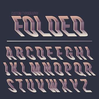 Diseño de fuente tipografía abstracta plegada