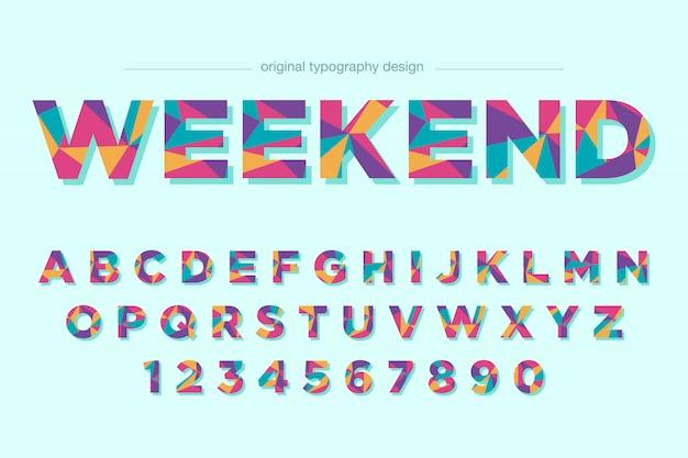 Diseño de fuente de tipografía baja poli colorido