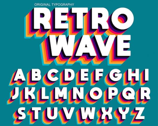 Diseño de fuente de tipografía retro colorido