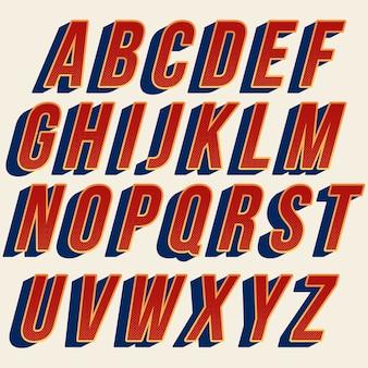 Diseño de fuente tipografía retro rojo