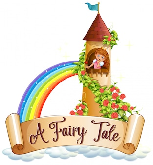 Diseño de fuente para word un cuento de hadas con princesa en la torre