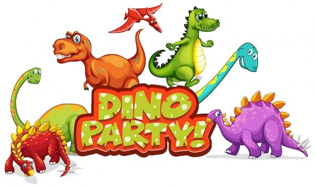 Diseño de fuente para word dino party con muchos dinosaurios