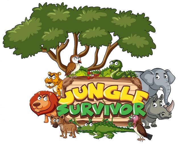 Diseño de fuente para word jungle survivor