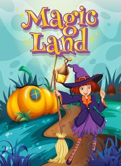 Diseño de fuente para word magic land con bruja en el parque