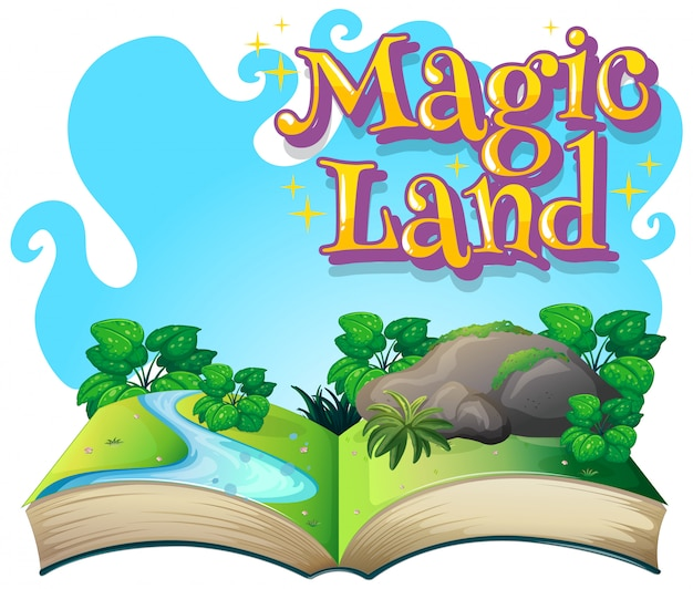 Diseño de fuente para word magic land con escena de un libro