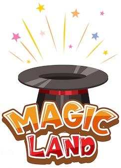 Diseño de fuente para word magic land con sombrero de mago