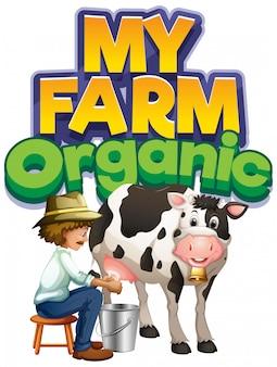 Diseño de fuente para word my farm con granjero ordeñando vaca