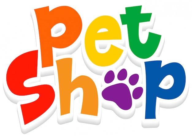 Diseño de fuente para word pet shop sobre fondo blanco.