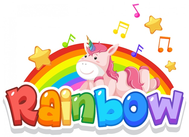 Diseño de fuente para word rainbow con rainbow en el fondo del cielo