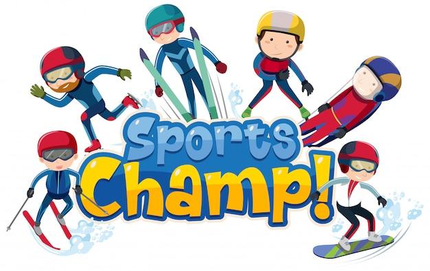 Diseño de fuente para word sports champ con personas que hacen deportes de invierno