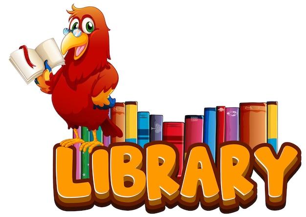Diseño de fuentes para biblioteca de palabras con libro de lectura de loros.