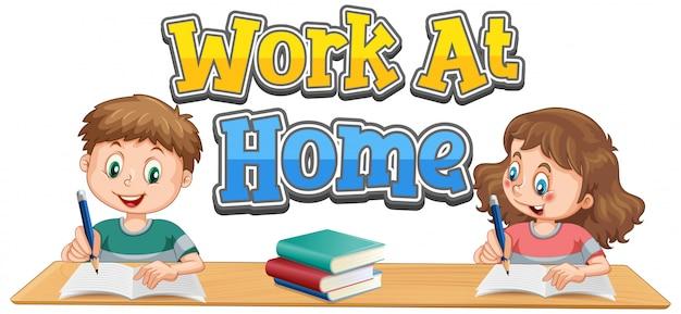 Diseño de fuentes de trabajo en casa con dos niños haciendo la tarea.