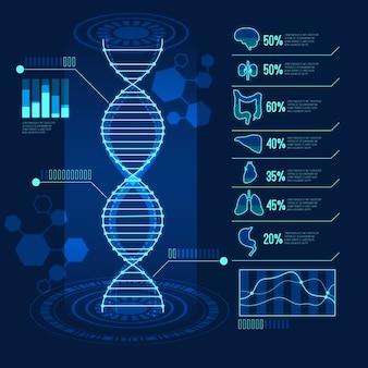 Diseño futurista para infografía médica.