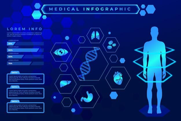 Diseño futurista infografía médica