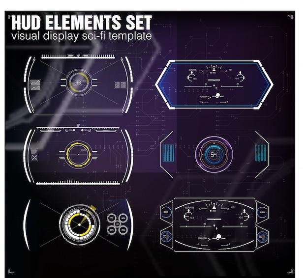 Diseño futurista de pantalla frontal vr. casco de ciencia ficción hud. diseño de pantalla de tecnología futura.
