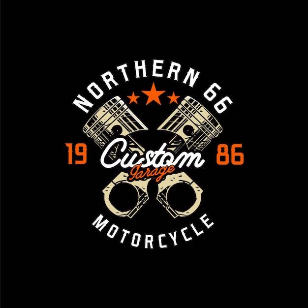 Diseño de garaje con logotipo de motocicleta personalizado de pistón