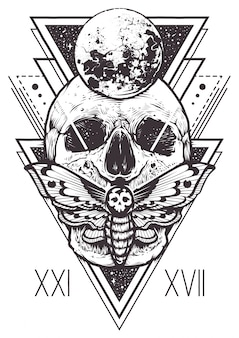 Diseño de geometría sagrada del cráneo