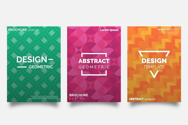 Diseño geométrico abstracto de colección de portadas