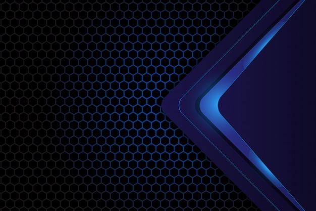 Diseño geométrico abstracto sobre fondo hexagonal azul oscuro