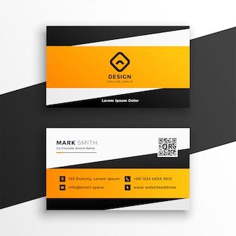 Diseño geométrico amarillo abstracto de la tarjeta de visita