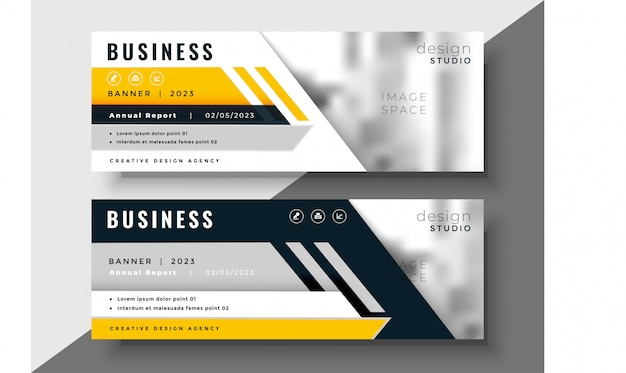 Diseño geométrico amarillo banner de negocios