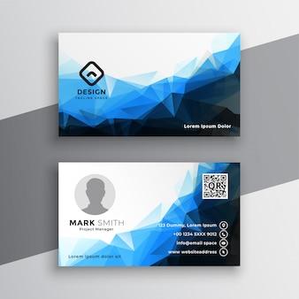 Diseño geométrico azul abstracto de la plantilla de la tarjeta de visita