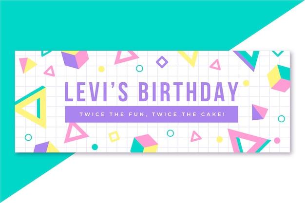 Diseño geométrico de banner de cumpleaños