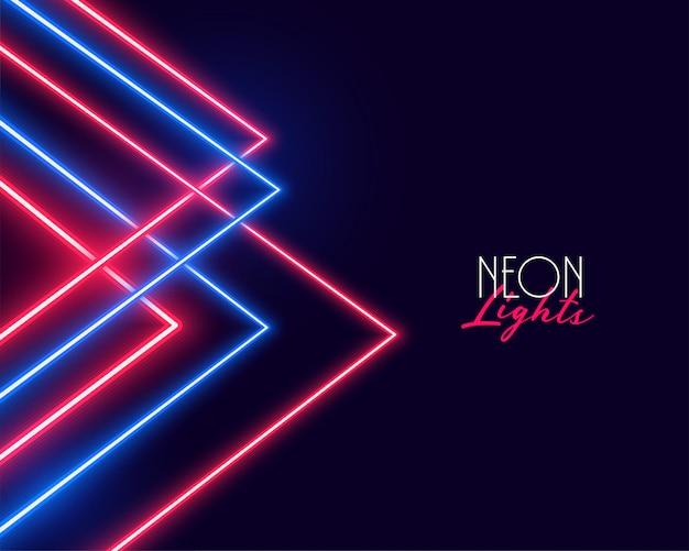 Diseño geométrico del fondo de las luces de neón rojas y azules