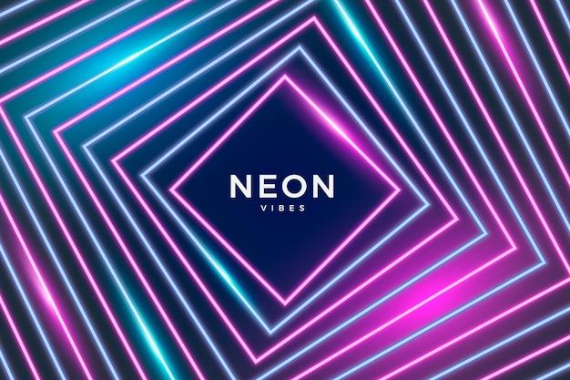 Diseño geométrico de fondo de luces de neón