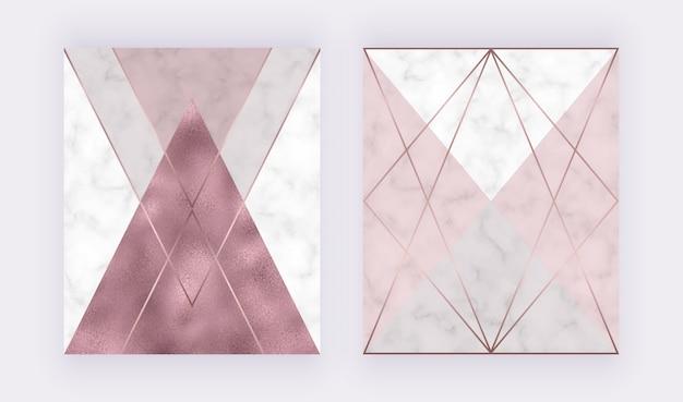 Diseño geométrico de mármol con textura triangular rosa y gris, lámina de oro rosa, líneas poligonales