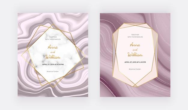 Diseño geométrico de mármol con textura triangular rosa y gris, lámina de oro rosa.