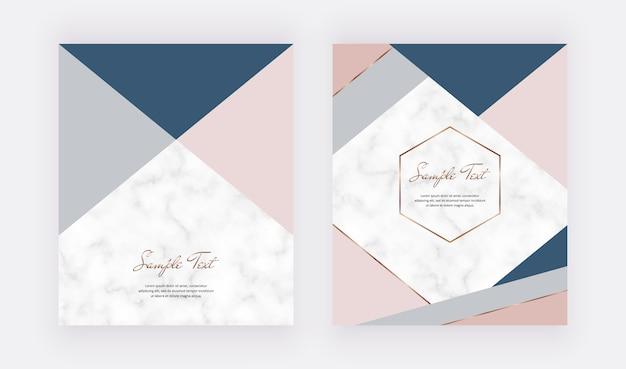 Diseño geométrico de moda con formas de triángulos de color rosa pastel, azul gris y líneas doradas.