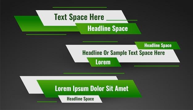 Diseño geométrico de la plantilla del tercer banner inferior verde