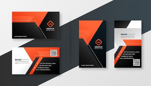Diseño geométrico de tarjeta de visita moderna negra y naranja