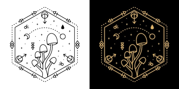 Diseño geométrico del tatuaje de la seta monoline