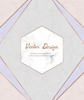 Diseño geométrico con triángulos de color rosa crema, azul y oro en la textura de mármol.