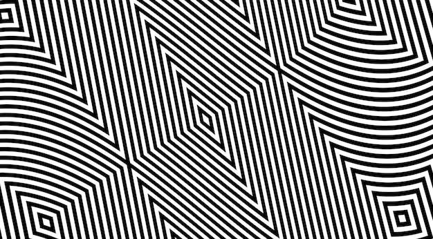 Diseño geométrico del vector del fondo del modelo rayado de la ilusión óptica.