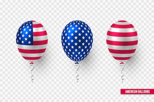 Diseño de globos brillantes de estados unidos de bandera estadounidense.