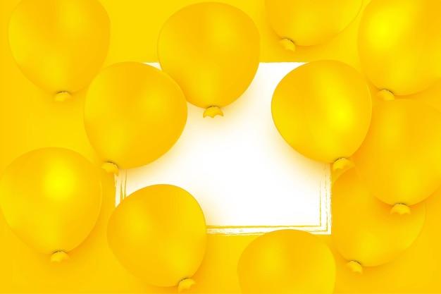 Diseño de globos realistas de fondo de feliz cumpleaños