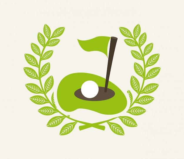 Diseño de golf sobre fondo blanco ilustración vectorial