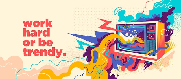 Diseño de graffiti abstracto con tv retro.