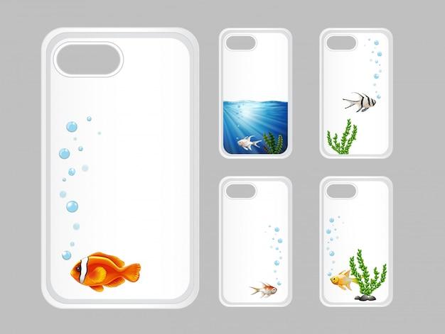 Diseño gráfico en caja del teléfono con peces bajo el agua