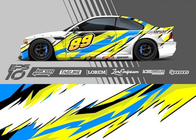 Diseño gráfico de calcomanía de envoltura de automóvil. raya abstracta de carreras.