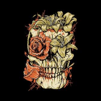 Diseño gráfico de la camiseta del arte del ejemplo gráfico de la sangre de la flor del horror del cráneo