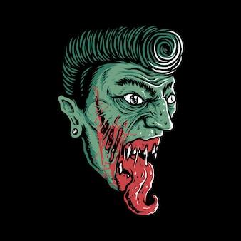 Diseño gráfico de la camiseta del arte de la ilustración del horror del zombi