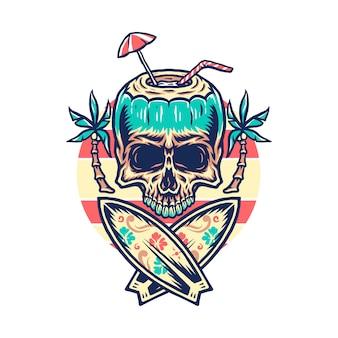 Diseño gráfico de la camiseta de la playa del verano del cráneo, línea dibujada a mano con color digital