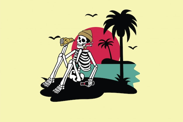 Diseño gráfico de camiseta de verano de calavera