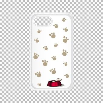 Diseño gráfico en la carcasa del teléfono móvil con huellas de perros.